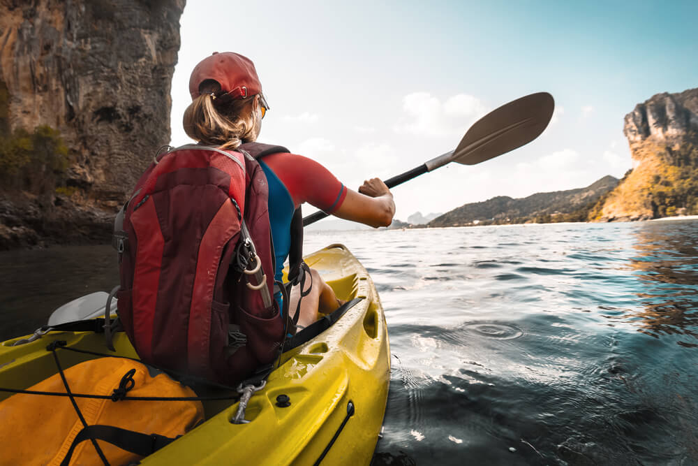 Kayaking in the summer can be a great workout!